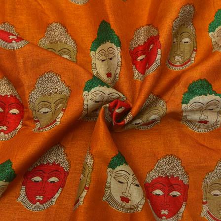 Orange-Cream and Red Buddha Design Kalamkari Manipuri Silk-16052