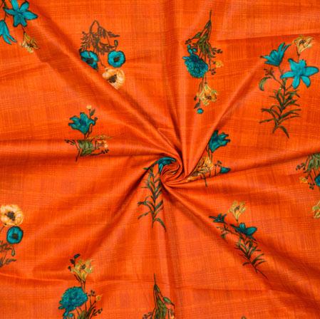 Orange Cyan Floral Cotton Print Fabric-28182