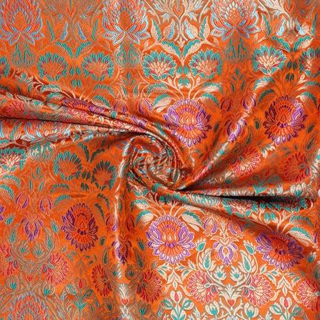 Orange Cyan Kinkhab Banarasi Silk Fabric-9338