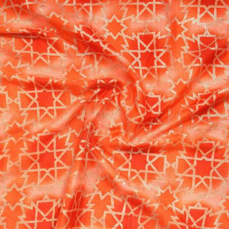 Orange Golden Kota Doria Fabric-25135