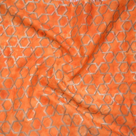 Orange Golden Kota Doria Fabric-25136
