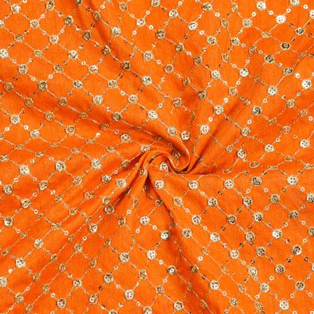 Orange Golden Embroidery Silk Banglori Fabric-18664