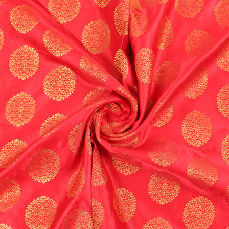 Orange Golden Brocade Satin Silk Fabric-9035