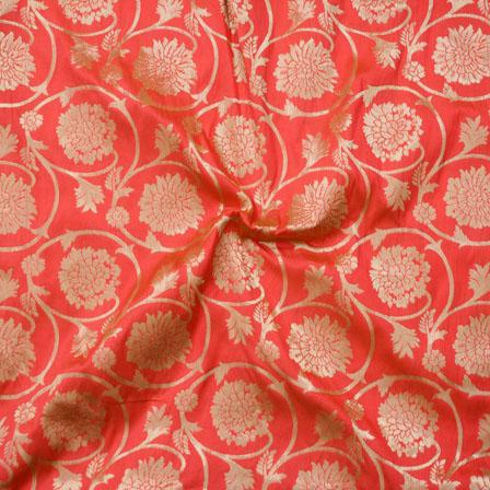 Orange Golden Brocade Silk Fabric-9056