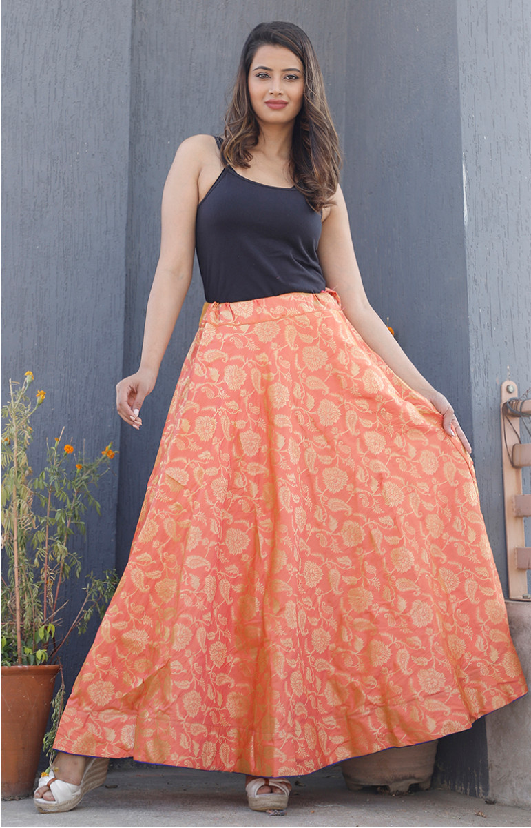 Orange Golden Brocade silk Lehenga-34225-(Free Size)