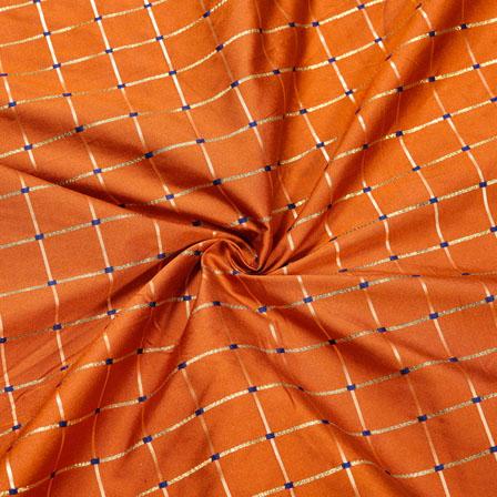 Orange Golden Checks Zari Taffeta Silk Fabric-12312