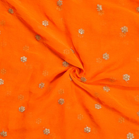 Orange Golden Embroidery Silk Chiffon Fabric-18669