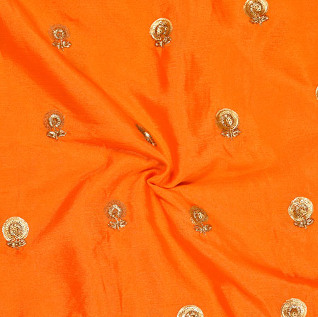 Orange Golden Embroidery Silk Chinon Fabric-18550