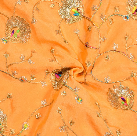 Orange Golden Embroidery Silk Chinon Fabric-18628