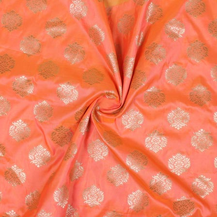 Orange Golden Floral Brocade Silk Fabric-9302