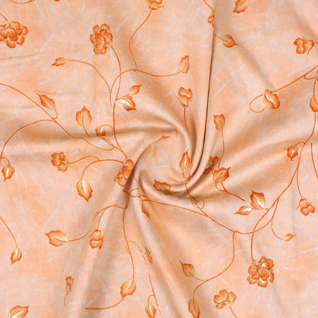 Orange Golden Floral Jam Cotton Fabric-15146