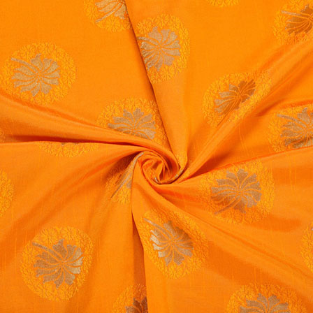 Orange Golden Floral Satin Brocade Silk Fabric-12113