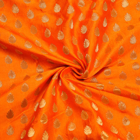 Orange Golden Floral Satin Brocade Silk Fabric-12134