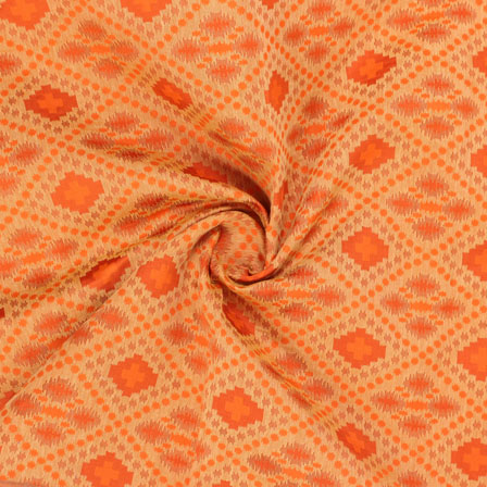 Orange Golden Jacquard Cotton Fabric-9009