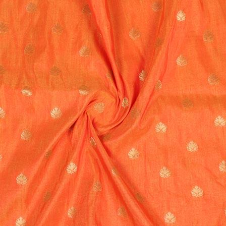 Orange Golden Leaf Brocade Silk Fabric-9233