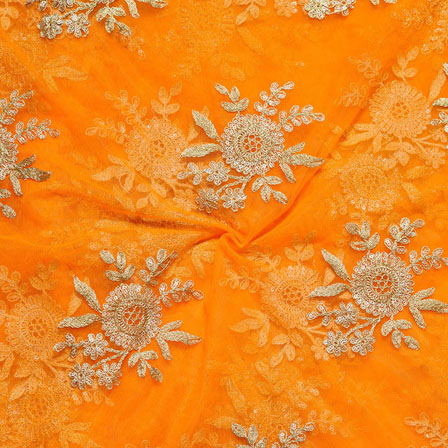 Orange Golden Net Embroidery Silk Fabric-18733