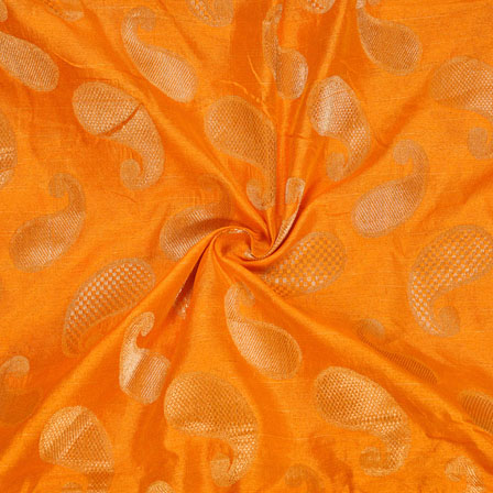 Orange Golden Paisley Chanderi Zari Silk Fabric-12095