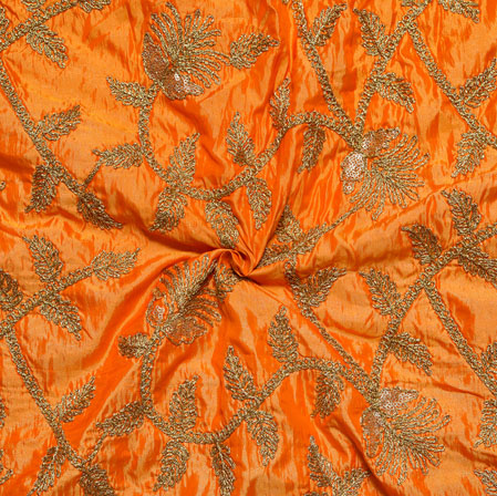 Orange Golden Embroidery Silk Paper Fabric-18517