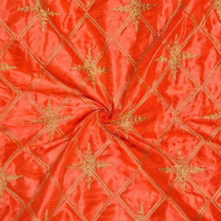 Orange Golden Embroidery Silk Paper Fabric-18618