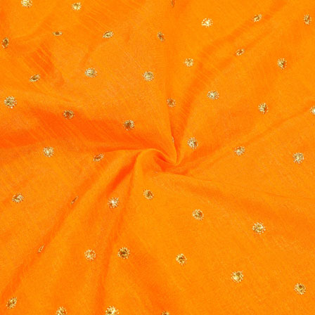 Orange Golden Polka Banglori Silk Fabric-12353