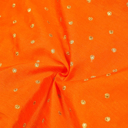 Orange Golden Polka Banglori Silk Fabric-12354