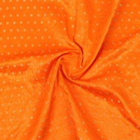 Orange Golden Polka Brocade Silk Fabric-9065