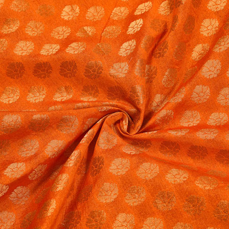 Orange Golden Polka Chanderi Zari Silk Fabric-12268