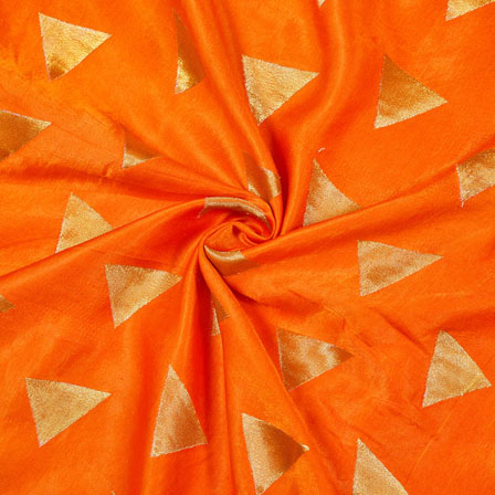 Orange Golden Tringle Satin Brocade Silk Fabric-12112