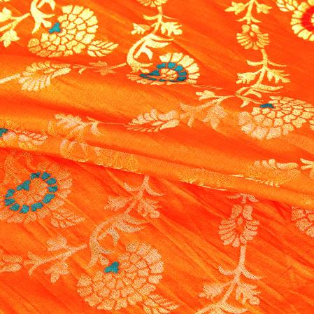 Orange Golden and Blue Floral Banarasi Silk Fabric-9453