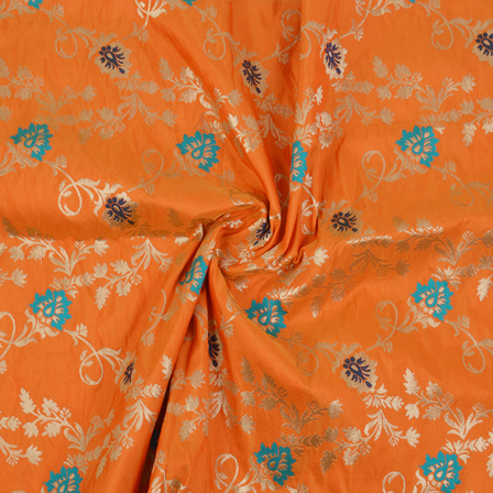 Orange-Golden and Blue Floral Tow Tone Banarasi Silk Fabric-8460