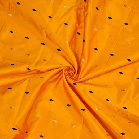 Orange Golden and Blue Polka Zari Taffeta Silk Fabric-12638
