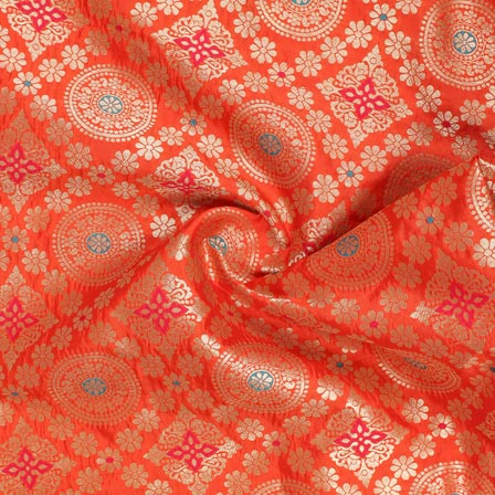 Orange Golden and Cyan Floral Banarasi Silk Fabric-9265