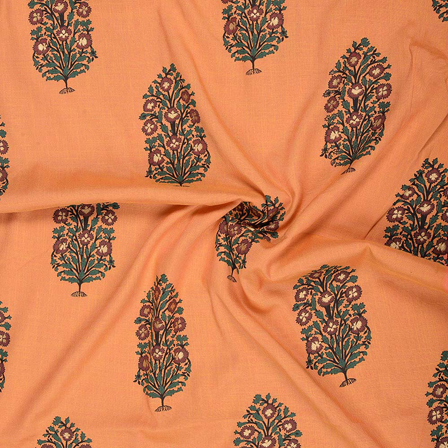 Orange-Golden and Green Floral Design Rayon Slub Fabric-75086
