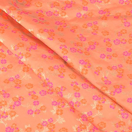 Orange-Golden and Pink Floral Digital Brocade Fabric-24067