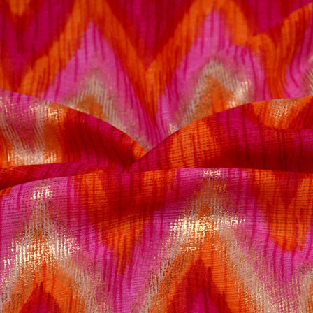 Orange-Golden and Pink Zig Zag Pattern Kota Doria Fabric-6015