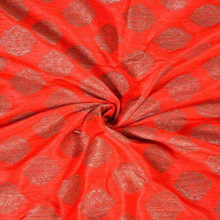 Orange Gray Brocade Silk Floral Fabric-12982