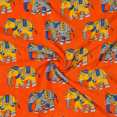 Orange Gray Elephant Print Manipuri-Silk Fabric-18007