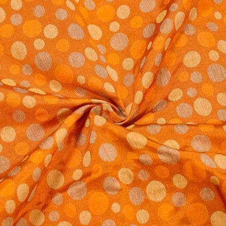 Orange Gray Polka Jaquard SIlk Fabric-12435