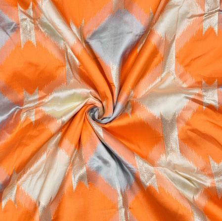 Orange Gray Square Brocade Banarasi Silk Fabric-12875
