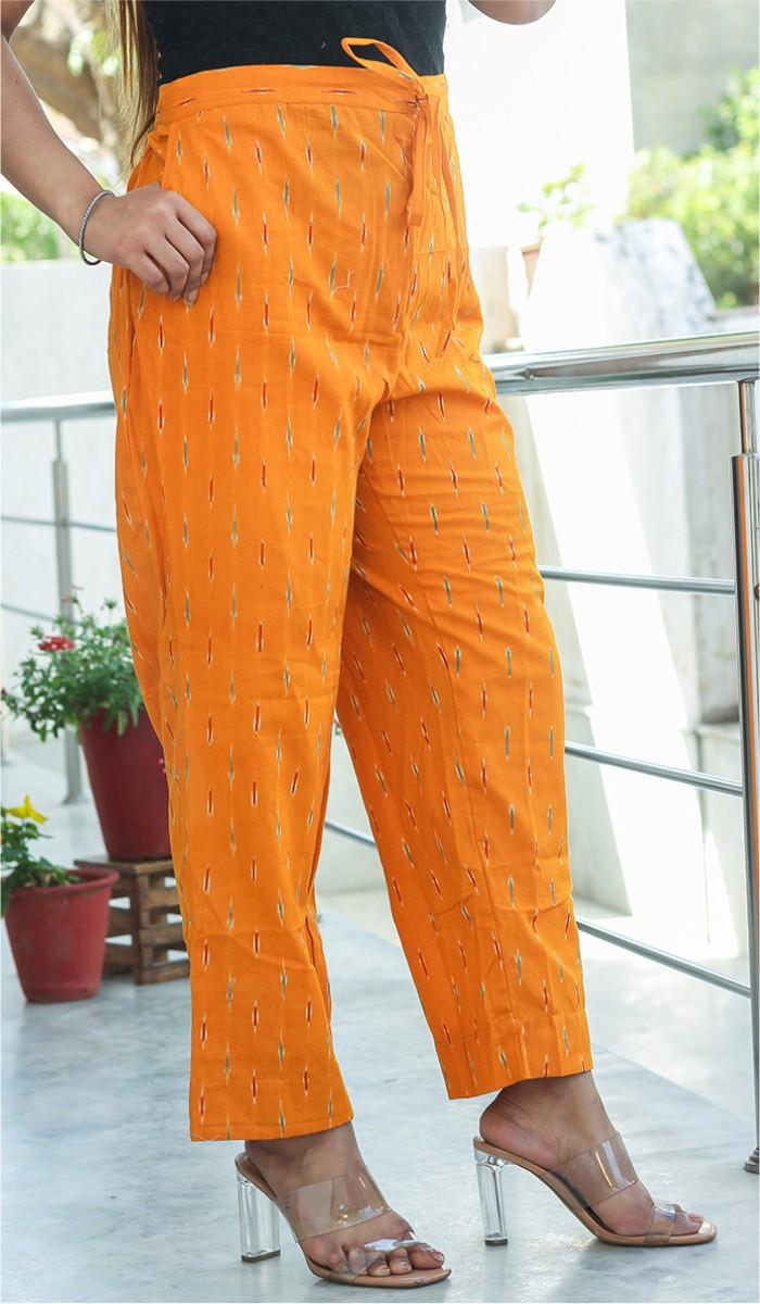 Orange Green Cotton Ikat Ankle Women Pant-34668