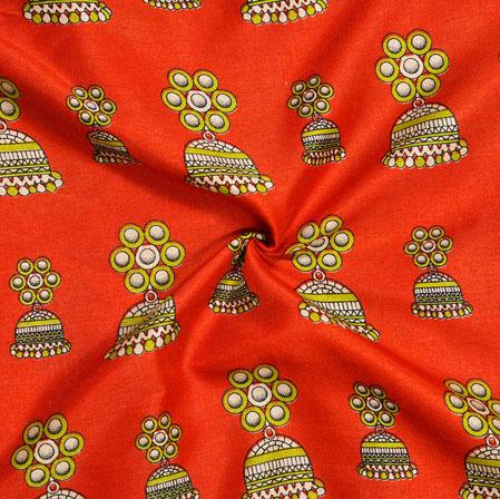 Orange Green Earring Print Manipuri-Silk Fabric-18071