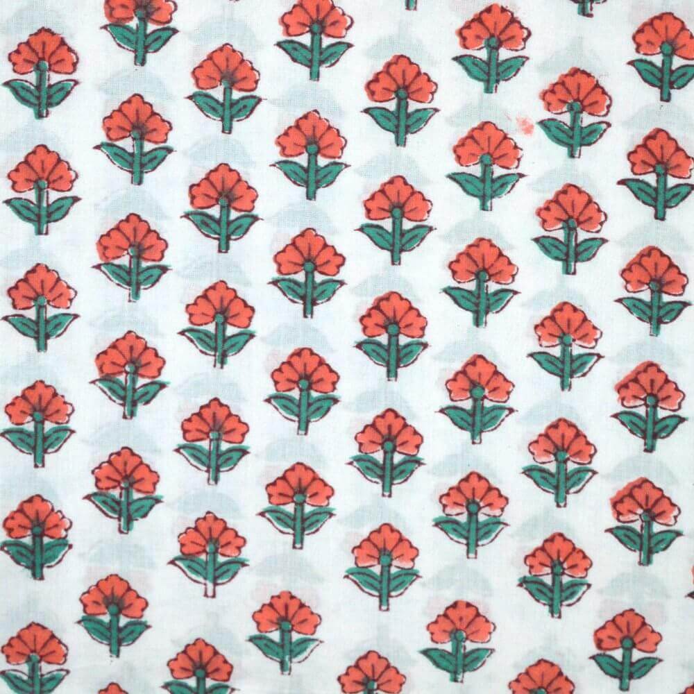 1 MTR-Orange & Green Flower Block Print Cotton Fabric by the Yard