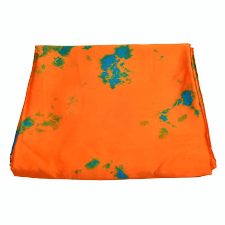 Orange-Green and Blue Batik Satin Fabric-32017