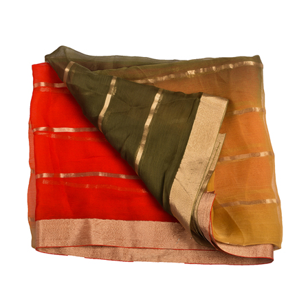 Orange-Green and Golden Chiffon Fabric-29037