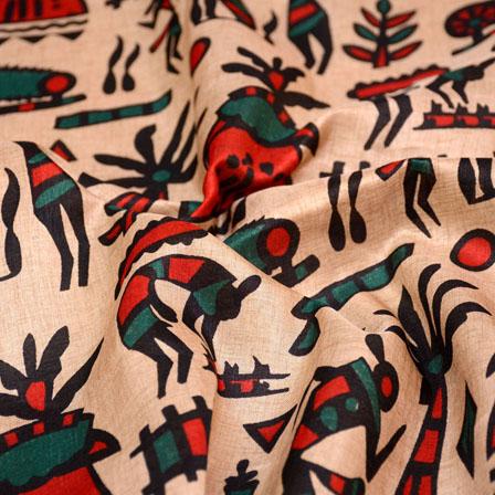 Orange-Green and Peach burleigh shape Kalamkari Manipuri Silk Fabric 7560