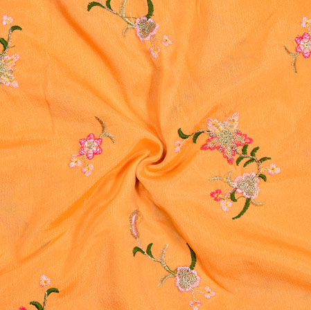 Orange Green and Pink Embroidery Silk Chinon Fabric-18625