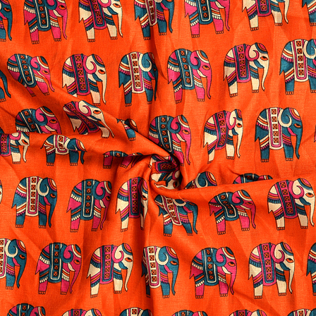 Orange-Green and Pink Elephant Design Kalamkari Manipuri Silk Fabric-16158
