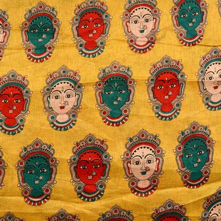 Orange-Green and Yellow Durga Devi Pattern Kalamkari Manipuri Silk Fabric