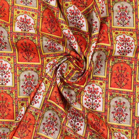 Orange Green and Yellow Manipuri Silk Fabric-16411