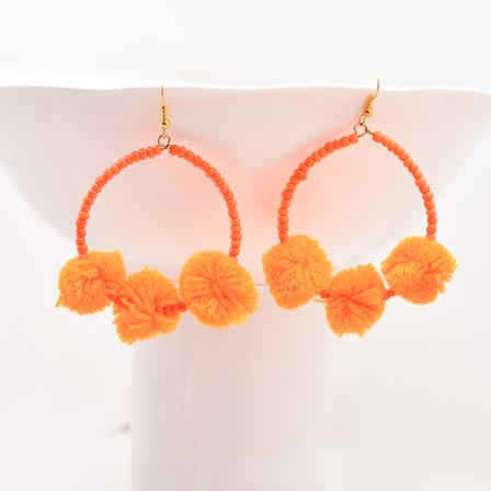 Orange Handcrafted Pom Pom Fabric Earring for Women